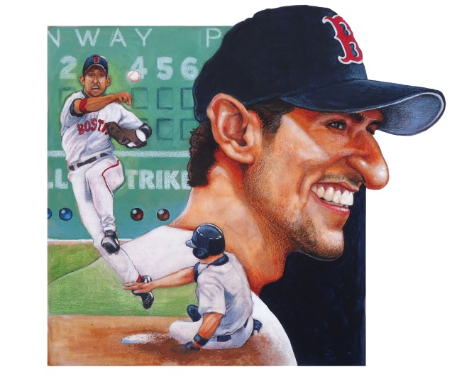 Caricature of my favorite baseball player, Nomar Garciaparra.